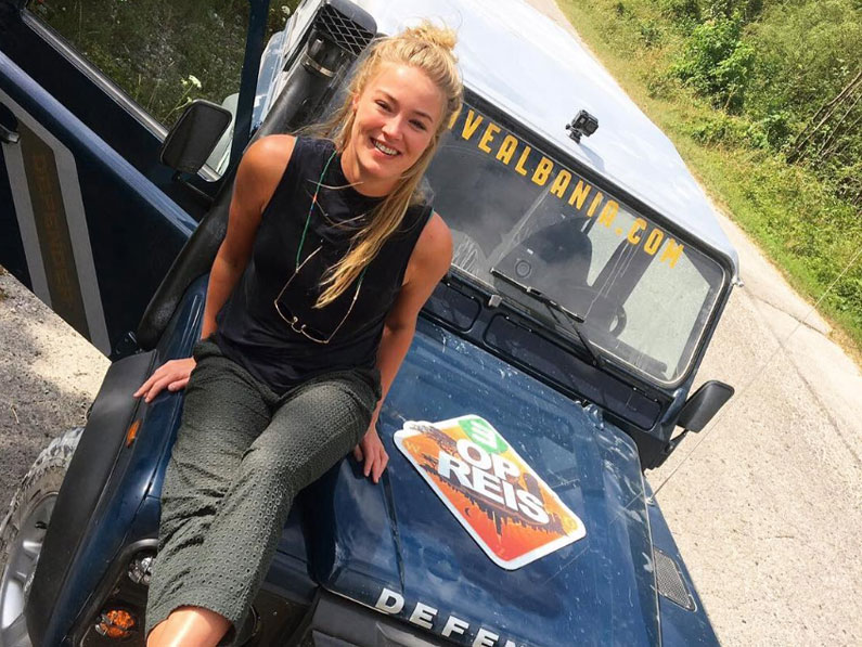 Geraldine Kemper with her Drive Albania Land Rover Defender